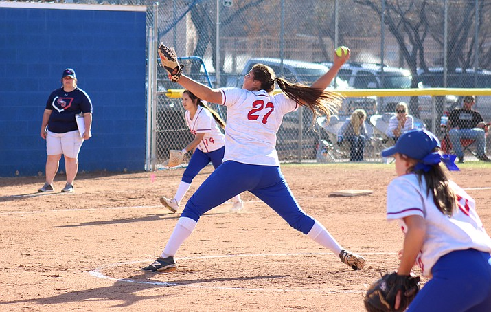 Camp Verde sophomore Jacy Finley pitched a two-hitter, struck out seven and walked zero in the Cowboys' 22-0 win over Scottsdale Christian on Friday. (VVN/James Kelley)