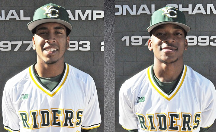 Yavapai College pitchers Jonathan Stroman, left, and Darius Vines had impressive outings against Pima Community College on Saturday, March 10, in Tucson. (YC/Courtesy)