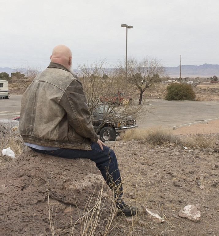 Jay, who wishes to remain anonymous, is homeless in Kingman and hoping to find a full-time job to pull him out of his rut. (Photo by Hubble Ray Smith/Daily Miner)