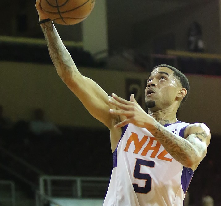 Northern Arizona's Josh Gray (5) goes to the rim for a score as the Suns hosted the South Bay Lakers on Sunday, March 11, 2018, in Prescott Valley. (Matt Hinshaw/NAZ Suns)