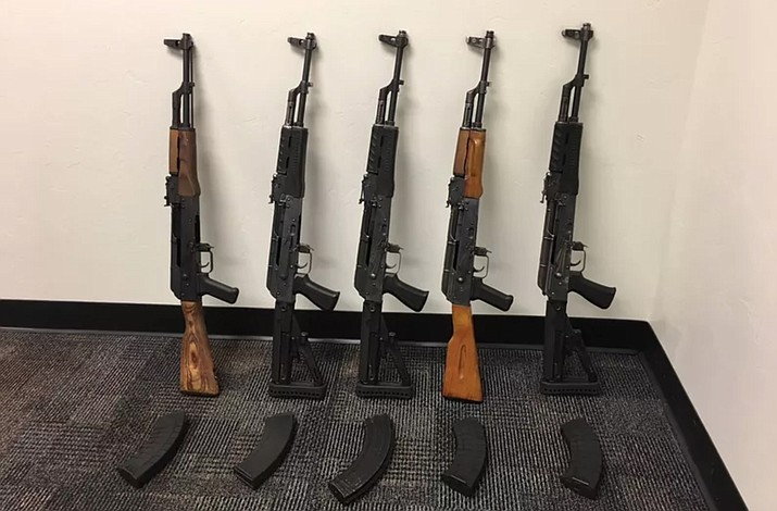 An Arizona Department of Public Safety trooper reported discovering five AK-47 assault rifles March 11, 2018 after stopping a sedan for a traffic violation on Interstate 10 near Marana. (CBP photo)