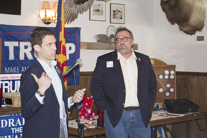 Jonathan Gelbart, left, and Bob Branch, candidates for Arizona Superintendent of Public Instruction, spoke Monday to the Conservative Republican Club of Kingman. It's one of the most hotly contested positions in the upcoming election.