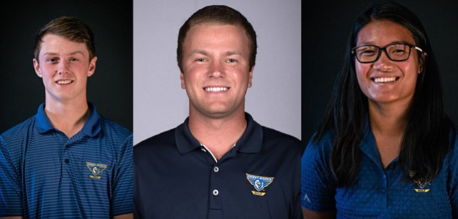 Embry-Riddle's Lewis Breslin, left, Matt Andrews, center, and Nicole Lopes are atop the leaderboard after day one of the Embry-Riddle Spring Invitational on Monday, March 12, 2018, in Prescott. (ERAU Athletics/Courtesy)