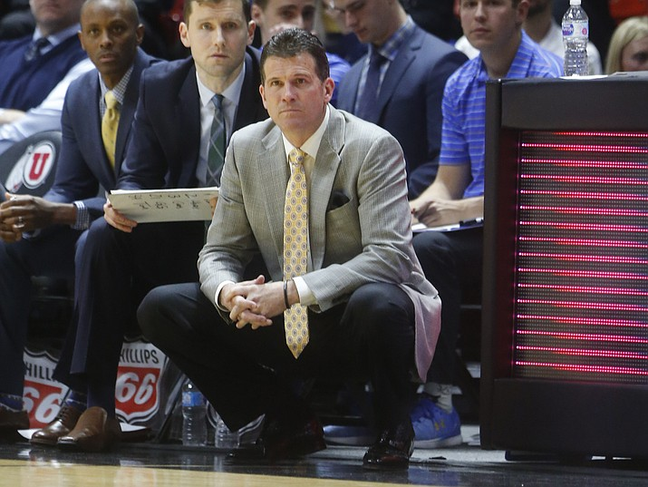 In this Feb. 22, 2018, file photo, UCLA coach Steve Alford watches the first half against Utah in Salt Lake City. (Rick Bowmer/AP, File)
