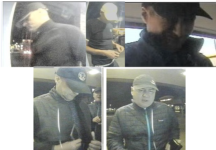 The Flagstaff Police Department is requesting information about two male suspects accused of installing ATM skimmers. (Photos/Flagstaff Police Department)