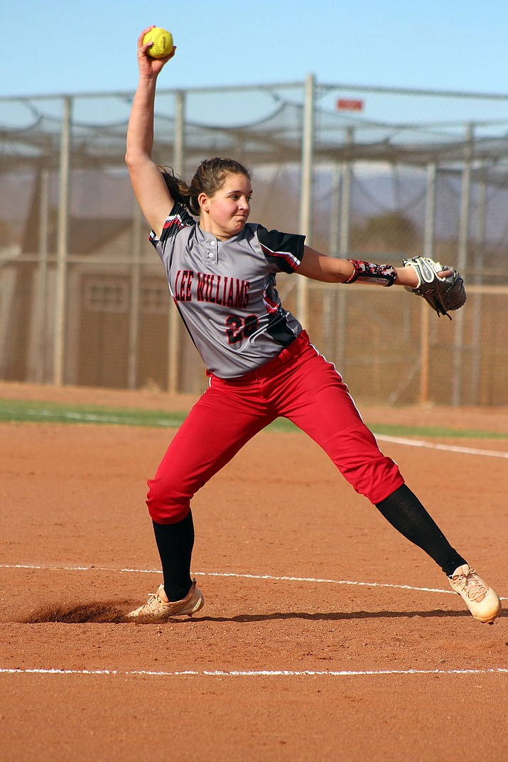 Lee Williams' Lauren Mastin pitched a complete game Tuesday against Kingman High for her first win on varsity.