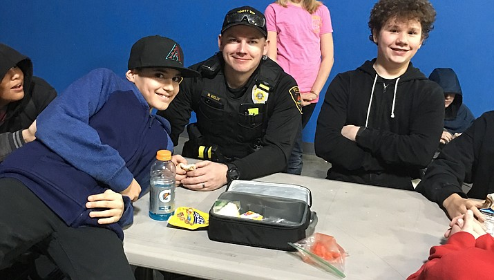 Police officers  on assignment  at PV charter school campus
