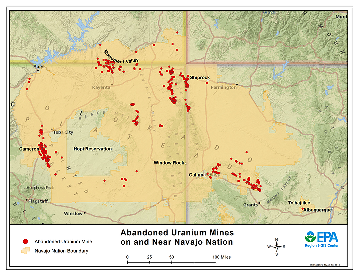 According to the Environmental Protection Agency (EPA), during the Cold War, 30 million tons of uranium ore were mined on or adjacent to the Navajo Nation, leaving more than 500 abandoned mines. Cleanup of  abandoned uranium mines is closely coordinated between federal agencies and the Navajo Nation. (Photo/US Environmental Protection Agency)