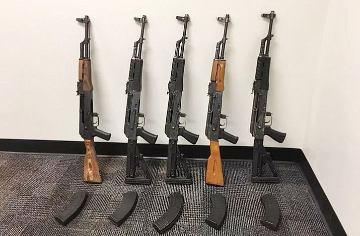 An Arizona Department of Public Safety trooper reported discovering five AK-47 assault rifles Sunday, March 11, 2018, after stopping a sedan for a traffic violation on Interstate 10 near Marana. (Border Patrol/Courtesy)