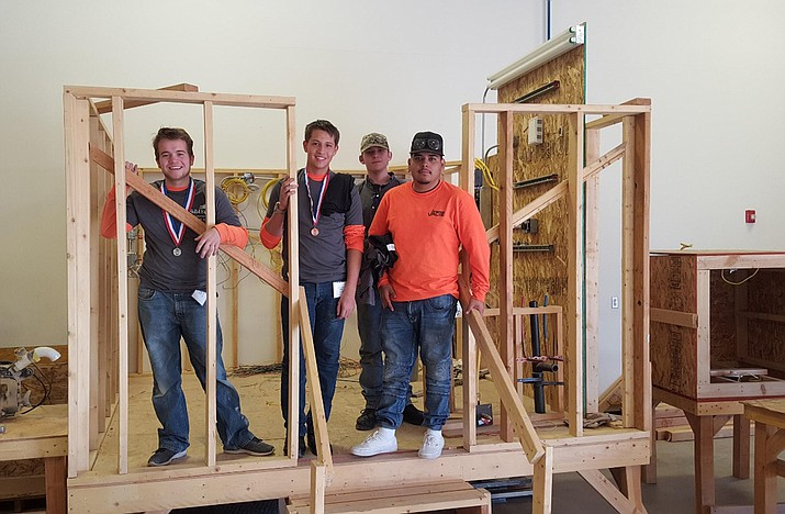 Seven of the Verde Valley's career and technical education students recently placed in the SkillsUSA competition for Region 4 competitors.In the construction competition, Casner Dudley, Caleb Maldonado, Eddie Christensen and Marshall Vachon placed. (Photo courtesy of VACTE)
