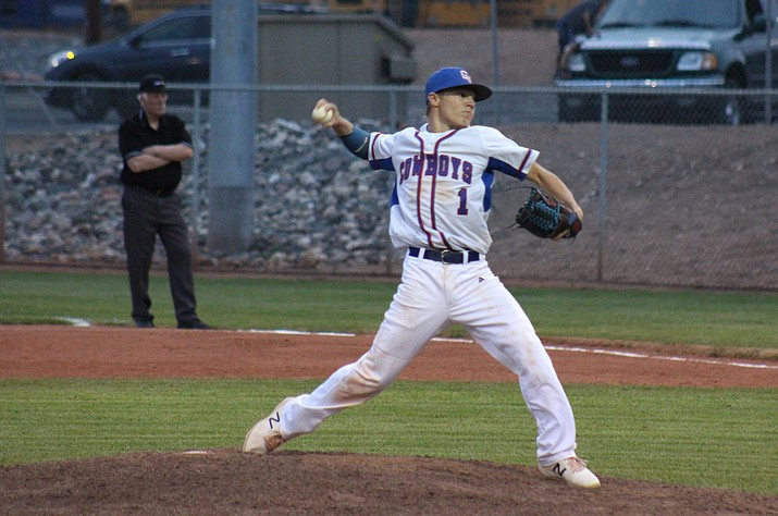 Camp Verde junior Dominiq Bruno threw a two-hitter and gave up zero earned runs during the Cowboys 12-2 win over Bourgade Catholic on Tuesday at home  (VVN/James Kelley)