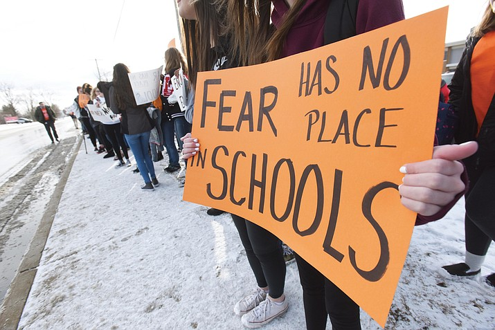 Students hold signs as they participate in a walkout to protest gun violence, Wednesday, March 14, 2018, at Lakeshore High School in Stevensville, Mich. (Don Campbell/The Herald-Palladium via AP)