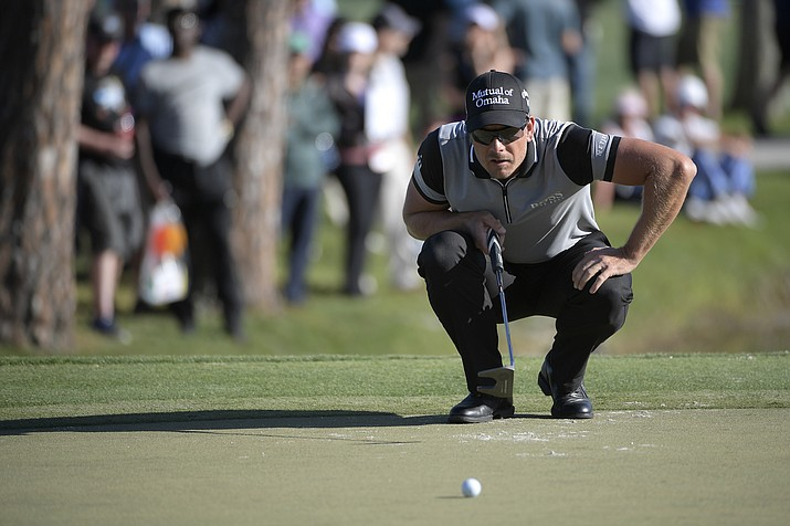 Henrik Stenson of Sweden lines up a putt on the 17th green during the first round of the Arnold Palmer Invitational golf tournament Thursday, March 15, 2018, in Orlando, Fla.