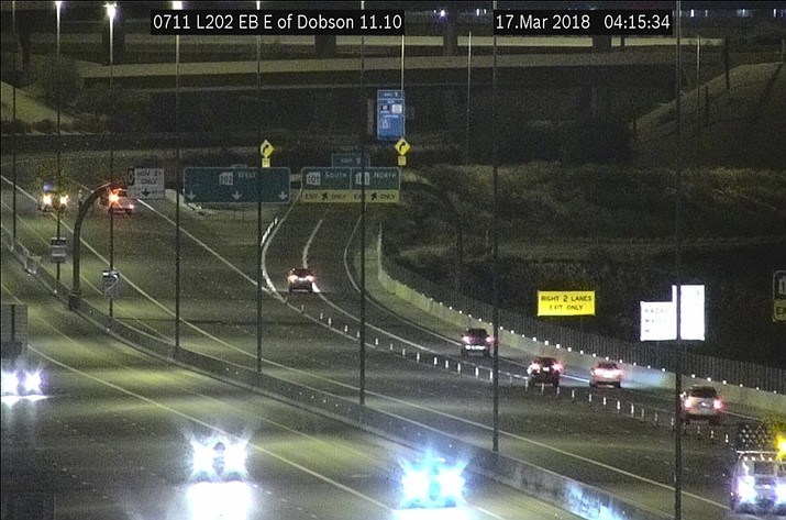 The Arizona Department of Public Safety says a wrong-way vehicle was eastbound in westbound lanes of State Route 202 near Scottsdale Road when the crash occurred early Saturday morning. The DPS says the wrong-way driver was dead at the scene and that the other driver's injuries aren't life-threatening. (ADOT)