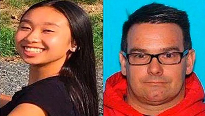 This combination of photos provided by the Allentown, Pa., Police Department shows Amy Yu, left, and Kevin Esterly. On Saturday, March 17, 2018, authorities said the missing Pennsylvania teenager and the 45-year-old man who frequently signed her out of school without her parents' permission have been located in Mexico. (Allentown Police Department via AP)
