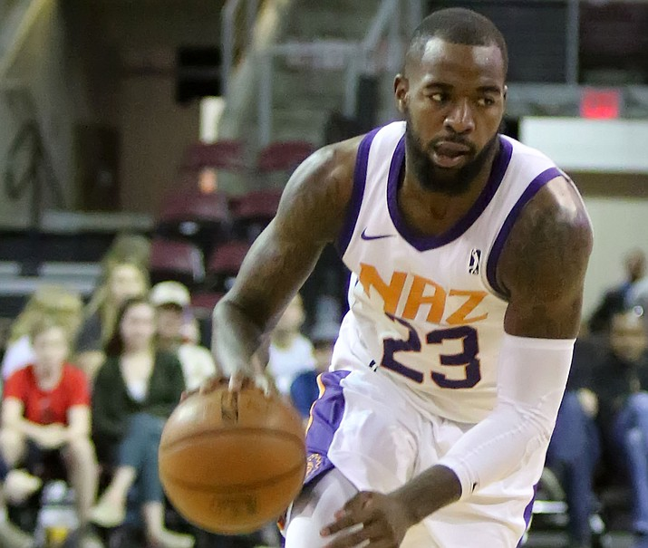 Northern Arizona's Mike Young (23) goes to the basket against Raptors 905 on Friday, March 16, 2018, in Prescott Valley. Young scored 37 points, but the Suns lost 138-126 to the Santa Cruz Warriors on Sunday, March 18, 2018, in Santa Cruz, Calif. (Matt Hinshaw/NAZ Suns, File)