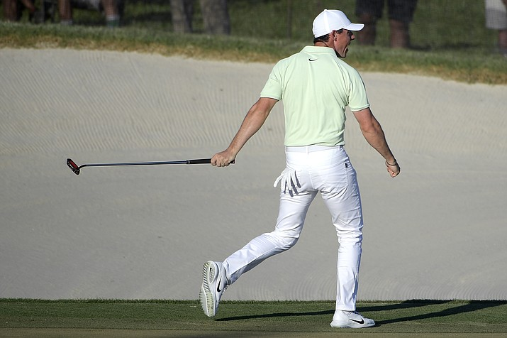 Rory McIlroy, of Northern Ireland, celebrates after making a birdie on the 18th green during the final round of the Arnold Palmer Invitational golf tournament Sunday, March 18, 2018, in Orlando, Fla. (Phelan M. Ebenhack/AP)