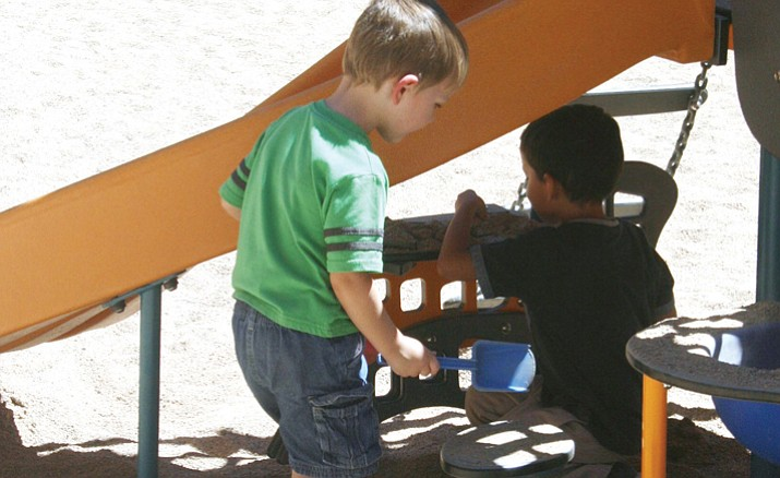 Two kindergarten boys are pictured on the playground of a school in the Humboldt Unified School District. (HUSD/Courtesy)