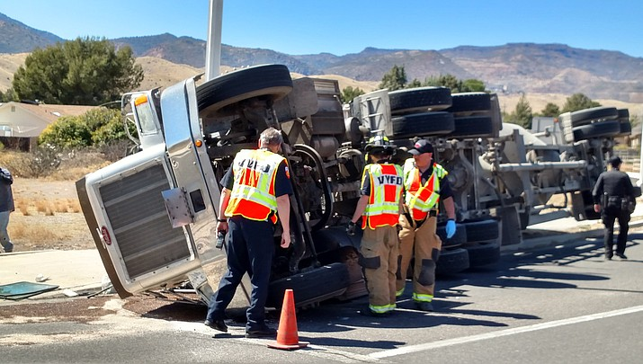 Cement truck rollover at SR 89A roundabout in Clarkdale