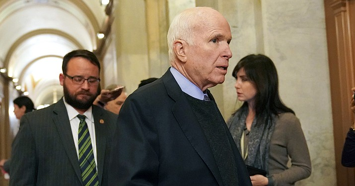 "In this Nov. 13, 2017 photo, U.S. Sen. John McCain, R-Ariz., arrives on Capitol Hill in Washington. On Twitter Sunday, McCain said it is ""critical"" that Robert Mueller be allowed to complete a thorough investigation into Russia's interference in the 2016 election. (Pablo Martinez Monsivais, AP Photo/File)"