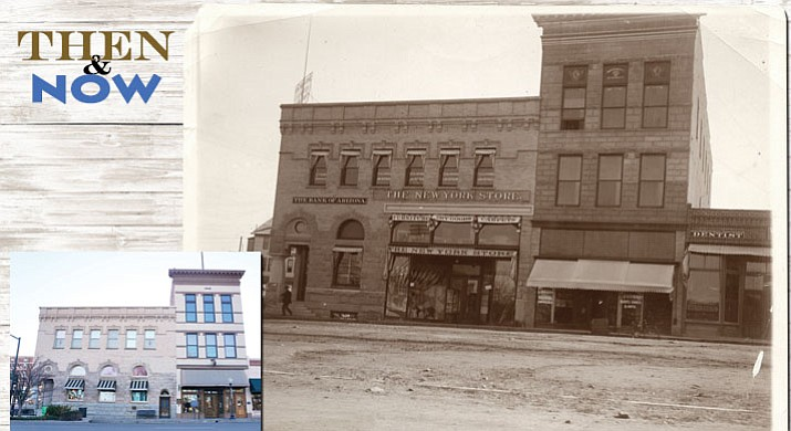 The 1900-era Bank of Arizona building, above, was constructed to replace an earlier version, according to information at Sharlot Hall Museum. The building stands next to the 1892 Knights of Pythias building, which now serves as the 'Tis Art Center and Gallery. (Sharlot Hall Museum/Courtesy) Today, the two historic buildings at the corner of Cortez and Gurley streets look much as they did more than 100 years ago although the interiors and uses have evolved through the years. (Cindy Barks/Courier)