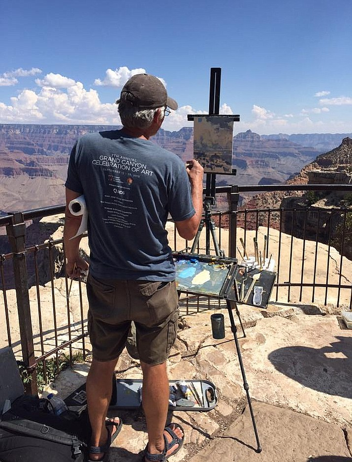 Artists paint on location around the South Rim at celebration of Art 2017. (Terri Attridge/Grand Canyon Association)