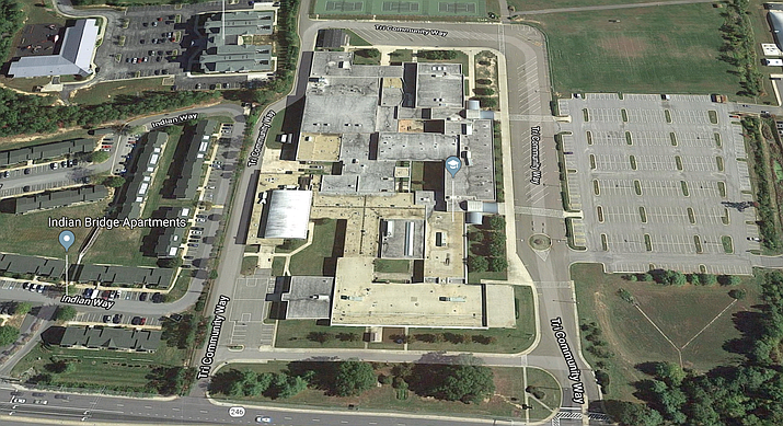 "Google Earth view of Great Mills High School in Great Mills, Md. Authorities say a shooting at the high school Tuesday wounded three people, including the shooter. A sheriff's spokeswoman said the situation was ""contained"" as deputies and federal agents converged on the crime scene. (Google Earth)"