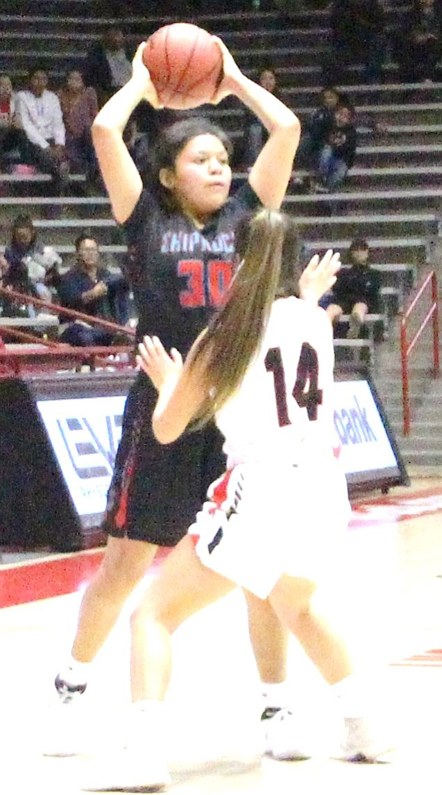 Shiprock's Tia Woods passes the ball over Portales Lillie Salz during the semi-finals. (Anton Wero/NHO)