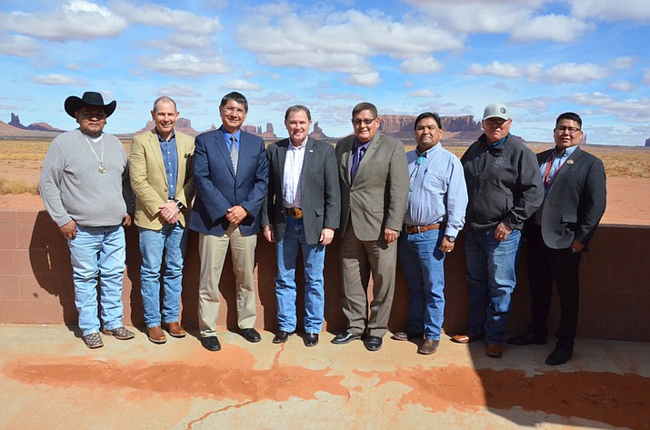 Navajo Nation leadership meet with U.S. Rep. John Curtis and Utah Gov. Gary Herbert in Monument Valley, Utah March 12 to discuss solutions to a recent decision to re-size Bears Ears National Monument. (Submitted photo)