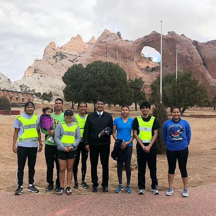 Runners on the Zuni/Navajo route for Sacred Strides for Healing stopped by the Office of the President and Vice President and met with Vice President Jonathan Nez. (Submitted photo)