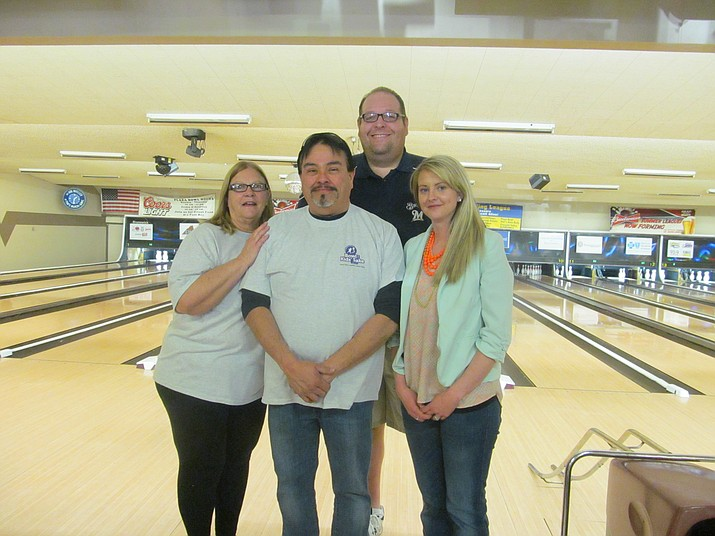 From left to right, Prescott Newspapers Inc. employees Cindy Manzione, Armando Rodarte, Brian M. Bergner Jr. and Megan Smith pose for a photo after participating in the annual Bowl for Kids' Sake, a Yavapai Big Brothers Big Sisters event that took place Sunday, March 18, 2018, at Plaza Bowl in Prescott. For more information on how the Yavapai Big Brothers Big Sisters organization works, or if interested in becoming a big, call 928-778-5135 or visit azbigs.org. (YBBBS/Courtesy)