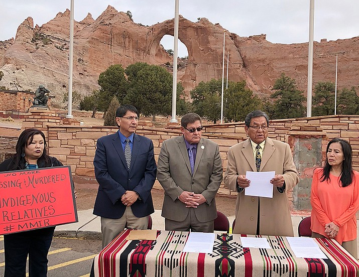 The three branch chiefs on Monday signed a proclamation declaring March 2018 as Missing Persons Awareness Month. Pictured, from left: a family member of a missing person, Vice President Jonathan Nez, Navajo Council Speaker LoRenzo Bates, President Russell Begaye and Chief Justice JoAnn Jayne. (Submitted photo)