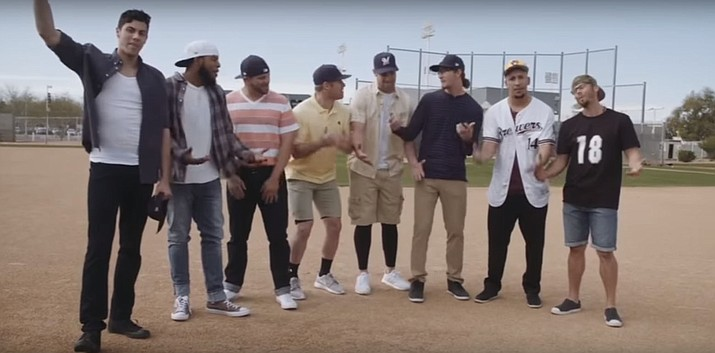 "This screen shot of a YouTuve video shows members of the Milwaukee Brewers re-enacting a scene from ""The Sandlot."" The video has become a hit across the country for all baseball fans. Milwaukee released the video celebrating the 25th anniversary of the movie Monday, March 19. (Courier Photo)"