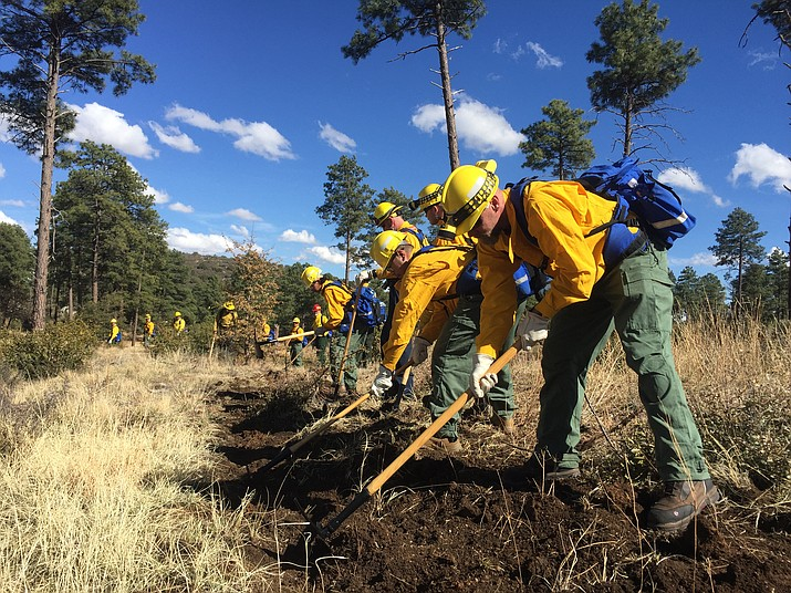 A group of wildland-firefighting students cut a fireline during the Arizona Wildfire and Incident Management Academy field day Wednesday, March 14, 2018, near the Iron Springs Road and Skyline Drive area in Prescott. (Max Efrein/Courier)