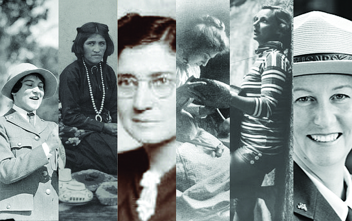 From left: first female Grand Canyon park ranger Pauline Patraw; Hopi artisan Nampeyo; botanist and Colorado River runner Elzada Clover; architect Mary Jane Elizabeth Colter; actress and Glen Canyon activist Katie Lee and Grand Canyon National Park Superintendent Christine Lehnertz. (Photos/NPS and NAU Cline Library Archive)