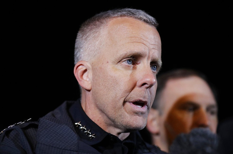 Austin Police Chief Brian Manley briefs the media, Wednesday, March 21, 2018, in the Austin suburb of Round Rock, Texas. The suspect in a spate of bombing attacks that have terrorized Austin over the past month blew himself up with an explosive device as authorities closed in, the police said early Wednesday. (AP Photo/Eric Gay)