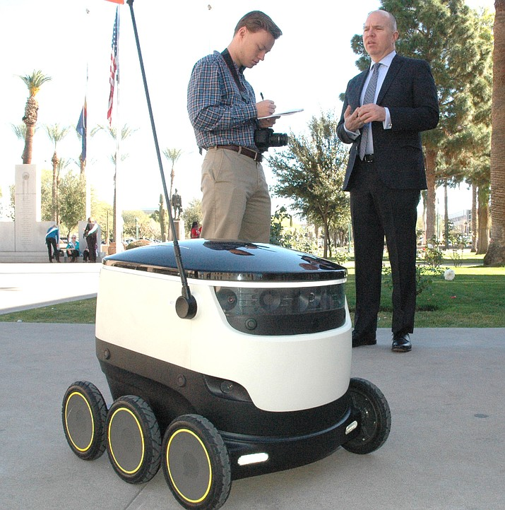 David Catania, spokesman for Starship Technologies, explained last month how his company's personal delivery devices would work and why it needs changes in Arizona law to test and deploy the devices here. (Capitol Media Services file photo by Howard Fischer)