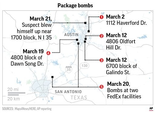 Authorities believe the suspect who died with SWAT officers closing in on him was behind all of the bombings in Austin this month.