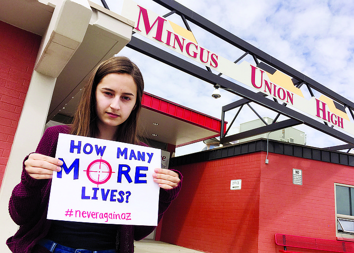 "Mingus Union High School senior Mackenzie King says that the March 24 March For Our Lives in Sedona is against ""weapons like the AR-15 that were designed with the express purpose of killing mass amounts of people incredibly quickly."" (VVN/Bill Helm)"