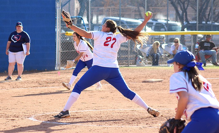 Camp Verde sophomore Jacy Finley threw a perfect game on Tuesday and struck out 11 of the 15 batters she faced int he Cowboys' 21-0 win over Tonopah Valley. (VVN/James Kelley)