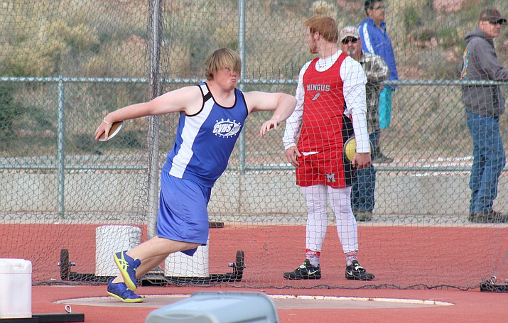 Camp Verde senior Mathew Wade throws the discus at the Red Rock Multi-Meet on Tuesday in Sedona. (VVN/James Kelley)