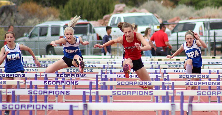 Mingus senior Hannah DeVore wins the 100-meter hurdles at the Red Rock Multi-Meet on Tuesday in Sedona. (VVN/James Kelley)
