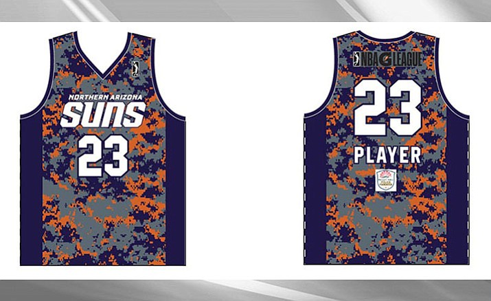 """On Saturday the Northern Arizona Suns will host its first """"Salute to Heroes Night."""" The Suns will wear camouflage jerseys for the game and they will auction them off afterwards to benefit the Prescott Valley Police Foundation.  (Photo courtesy NAZ Suns)"""