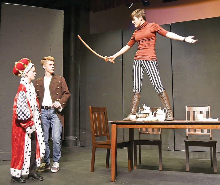 """From left, King, played by Tanner Dodt, 11, Sir Bergamont, played by Corey Seitz, 17, and Lynsie Andreasky rehearse a scene from """"The Camomile Catastrophe,"""" written by Alexandre DuBroy, 17, Tuesday afternoon April 5, 2016, at the Prescott Center for the Arts. PCA holds its second annual Spring Gala from 2 to 6 p.m. Saturday, March 24, at the PCA, 208 N. Marina St.  The afternoon will include entertainment from local musicians -- Drew Hall, Blaine Long, Kaileena Martin, Dan Seaman and more -- as well as catering by Ritz Girls, a free wine pour from Prescott Winery, a live and silent auction from local businesses and a raffle prize of """"Dinner and a Show,"""" which includes Main Stage and Stage Too season tickets and dinner before each show, donated by local Prescott restaurants.  Tickets for the gala are $75, and all proceeds from ticket and auction sales go to the PCA and its youth programming. Tickets can be purchased online at www.pca-az.net.(Kudos file photo)"""