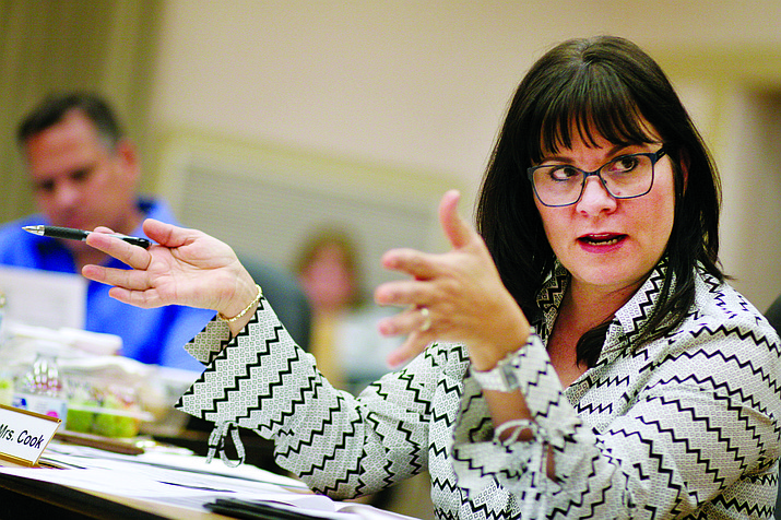 Cottonwood-Oak Creek School District Board President JoAnne Cook seeks clarity in the board's March 22 meeting to discuss leadership models for the district's schools. (VVN/Bill Helm)