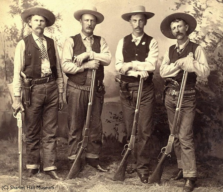 Buckey O'Neill and the three deputies who captured the Canyon Diablo train robbers. Left to right: Carl Holton, Ed Sinclair (St. Clair), Buckey O'Neill, and Jim Black. (Sharlot Hall Museum, call number 1700.1116.0000/Courtesy photo)