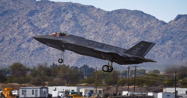 An F-35 Lightning II lands at the conclusion of the Heritage Flight during Luke Days at Luke Air Force Base, Ariz., March 18, 2018. (Staff Sgt. Tyler J. Bolken/Air Force)
