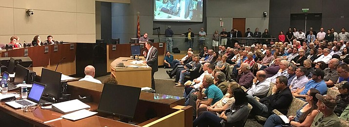 "Tom Buschatzke, director of Arizona Department of Water Resources, addresses a legislative panel Friday in Yuma about CAP's ""sovereign immunity"" legal defense for taking Colorado River water entitlements. (Photo courtesy of ADWR)"