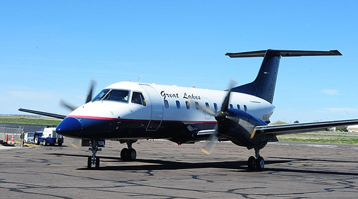A Great Lakes Airline flight to Los Angeles leaves Thursday, April 5, 2017, from Prescott's Ernest A. Love Field. The airline suspended Prescott air service effective Monday, March 26, 2018. (Les Stukenberg/Courier, File)