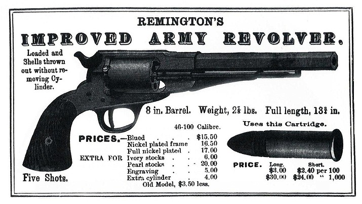 Remington, America's oldest gun maker, was founded in 1816 by Eliphalet Remington in New York, as E. Remington and Sons. It is the largest U.S. producer of shotguns and rifles. (In early ad for a Remington Army Revolver)